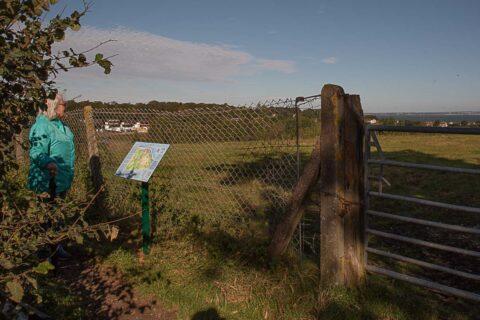 Barnsley Trail Map in position on Nettlestone Hill
